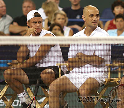 Andre Agassi and Lleyton Hewitt (2005 Indian Wells)