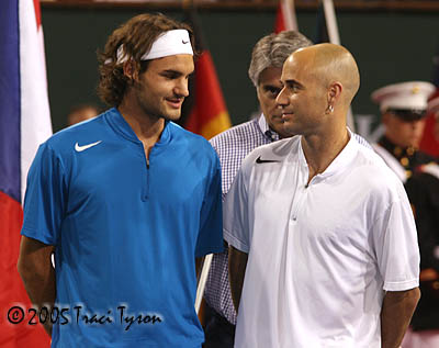Andre Agassi and Roger Federer (2005 Indian Wells)
